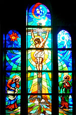 crucifixion window in church